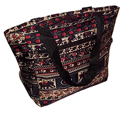 - Large Multi - Pocket Fashion Zipper Top Organizing Beach Bag Tote - Custom Embroidery Available (Elephant Tapestry Print)