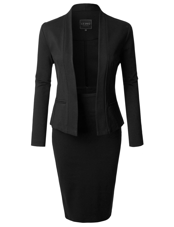 LE3NO レディース フォーマル オフィスビジネスブレザーとスカート スーツセット アメリカ製 B072KPT53K L|L3nwst3491_black L3nwst3491_black L