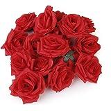 20pz Artificiale Rose Di Seta Teste Di Fiore Di Nozze Decor-rosso