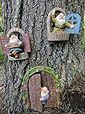Gianna's Home Welcome Window Garden Gnome Door Fairy Garden Tree Stump Miniature Decor, 4 pcs