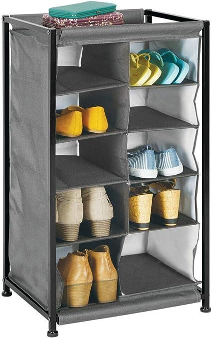 mDesign Mueble zapatero – Práctico organizador de zapatos con estructura de metal para la entrada o el trastero – Estantería guarda zapatos con 10 ...