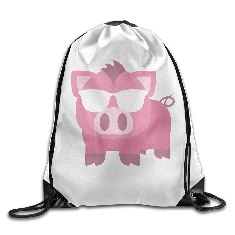Bag shrots Mochila con cordó n para el Hombro, diseñ o de Cerdo Rosa con Gafas de Sol diseño de Cerdo Rosa con Gafas de Sol 6087688532041