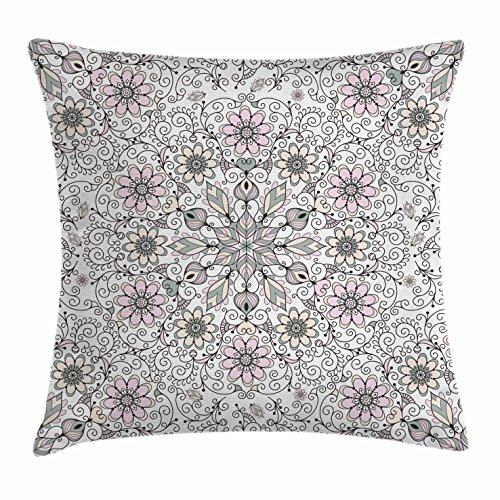 Ethnic Throw Pillow Cushion Cover by Ambesonne, Vintage Abstract Flower Swirls Leaves Doily Ethnic Style Print, Decorative Square Accent Pillow Case, 16 X 16 Inches, Black Light Pink and Light - Inch Light 16 Doily
