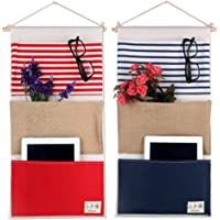 MF2FLAY Large Wall Hanging Organizer, 2 Pack Over the Door Storage Bags With 3 Pockets for Bedroom & Bathroom