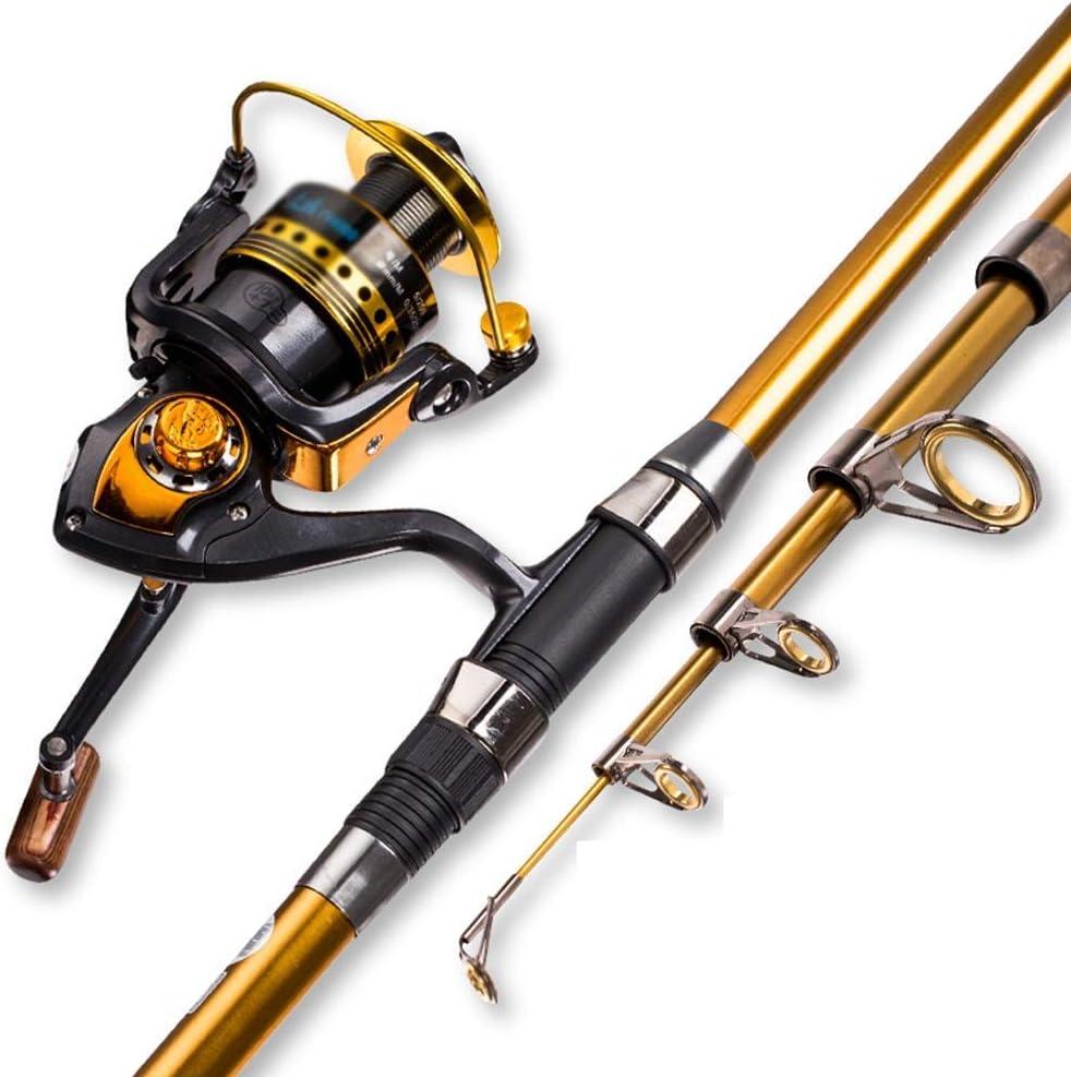 スピニングキャスティングコンボ海釣り竿セット釣りアクセサリー、初心者引き込み式釣り竿とリールの組み合わせスピニング釣りリール(カラー:マルチカラー、サイズ:2.4) Multi-colo赤