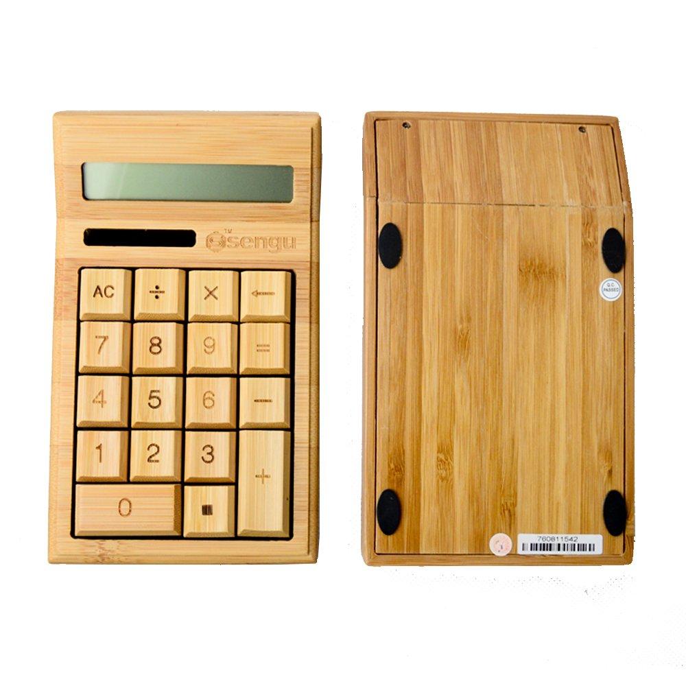 Sengu fatto a mano in bamb/ù naturale calcolatrice solare