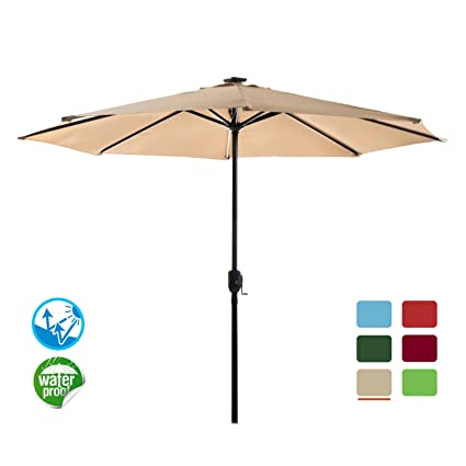 Charmant Odaof Patio Umbrella Solar Lights LED 9 FT Aluminum Table Market Outdoor  Umbrella 8 Ribs Garden