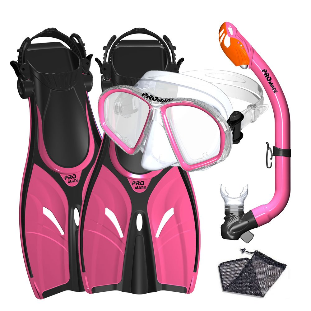Promate Junior Mask Fins Snorkel Set for Kids, Pink, Small by Promate
