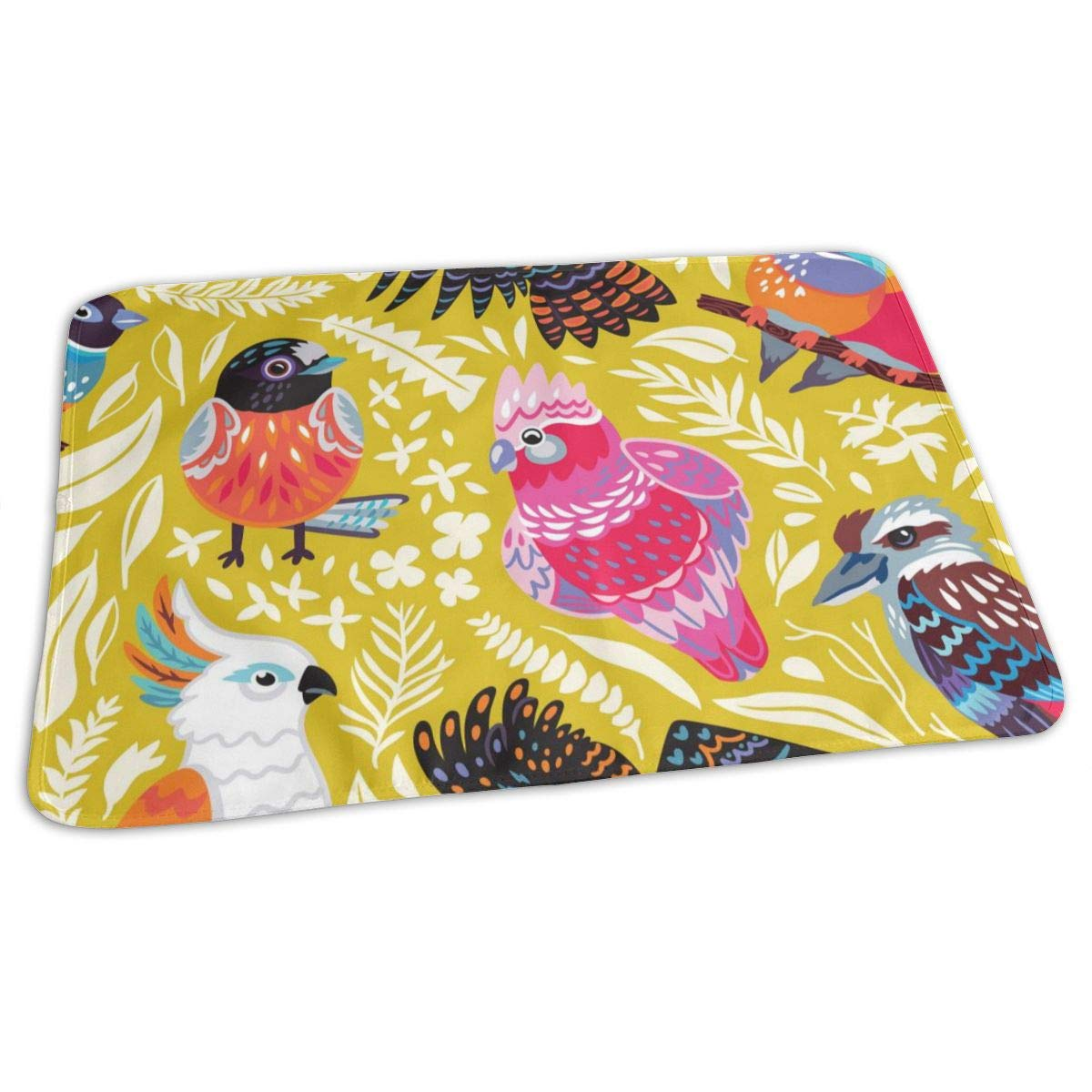 Osvbs Lovely Baby Reusable Waterproof Portable Exotic Pattern with Australian Birds and Tropical Leaves Changing Pad Home Travel 27.5''x19.7'' by Osvbs