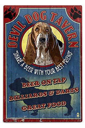 Lantern Press Devil Dog Tavern Vintage Sign - Basset Hound (12x18 Aluminum Wall Sign, Wall Decor Ready to Hang)