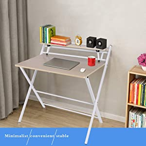 US Fast Shipment Folding Study Computer Desk - Home and Office Desks with Keyboard Tray - Writing and Laptop Console Table for Bedrooms - Modern Minimalist Design Furniture (White)