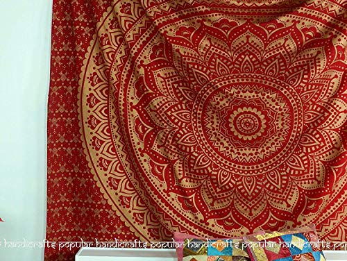 Popular Handicrafts New Launched Kp691 Original Gold Ombre Tapestry Mandala Tapestries Wall Art Hippie Wall Hanging Bohemian Bedspread with Metallic Shine Tapestries 84x90 Inches(215x230cms) Red