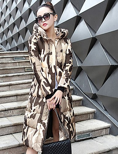 Daily Long Padded Street Casual Sleeves Plus Coat Work Others Cute Simple Camouflage amp;SHANGYI Women's chic TT green Polypropylene Long Size 1pxwq7nS