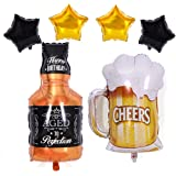 Morndew 2 PCS Crown Beer Mug Cheers Shape Foil Balloons for Bar Valentines Wedding Party Wedding Engagement Bridal Shower Birthday Party Decorations