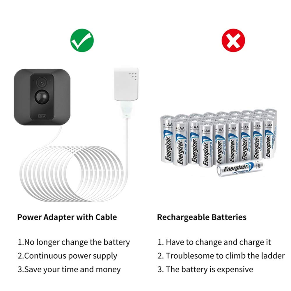 No More Battery Changes Blink XT 2 Power Cable Power Adapter for Blink XT XT2 Outdoor /& Indoor Security Camera TYRONE 30 Feet Cable