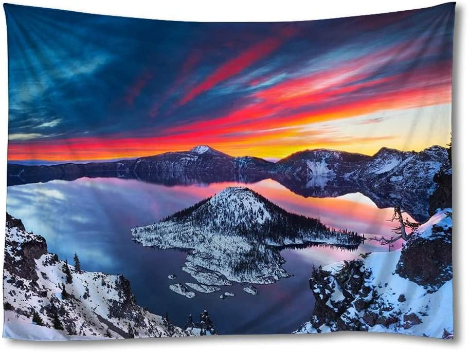 FHYGJD Crater Lake Sunrise Winter Landscape Art Print Tapestries,Home Wall Decor Tapestry (50x75 inch)