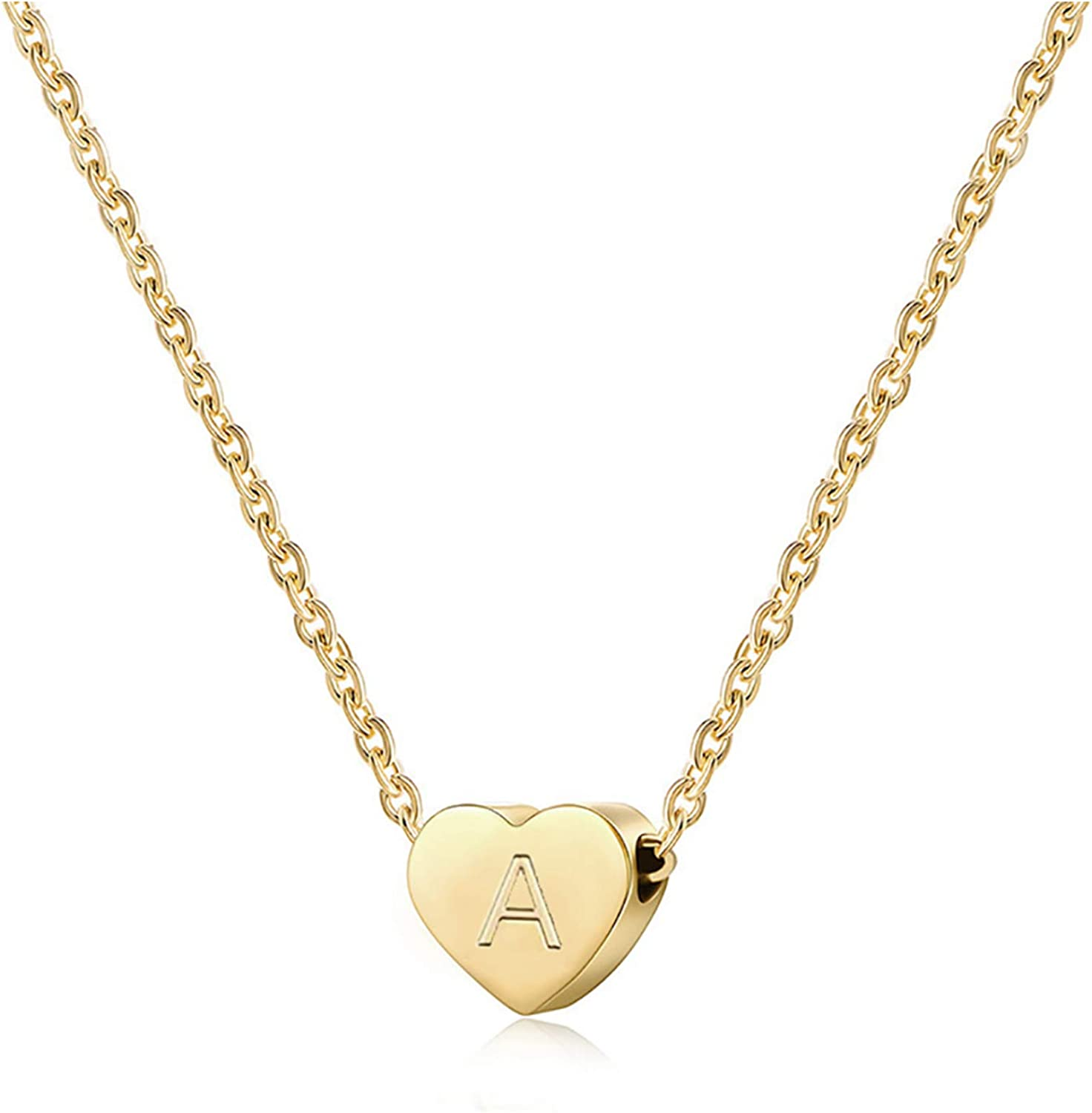 Monily Dainty Heart Initial Necklace Letters A to Z 26 Alphabet Pendant Necklace Small Heart 18K Real Gold Plated Personalized Necklace for Girl Women