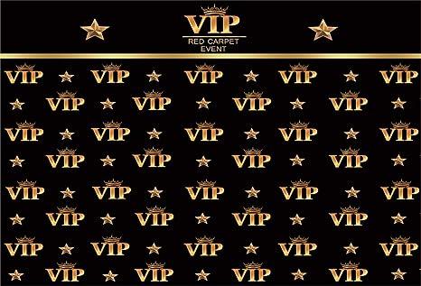 Cassisy 3x2m Vinilo Cumpleaños Telon de Fondo Evento DE Alfombra ROJA VIP Carta de Oro Corona Papel Pintado Negro Fondos para Fotografia Party bebé ...