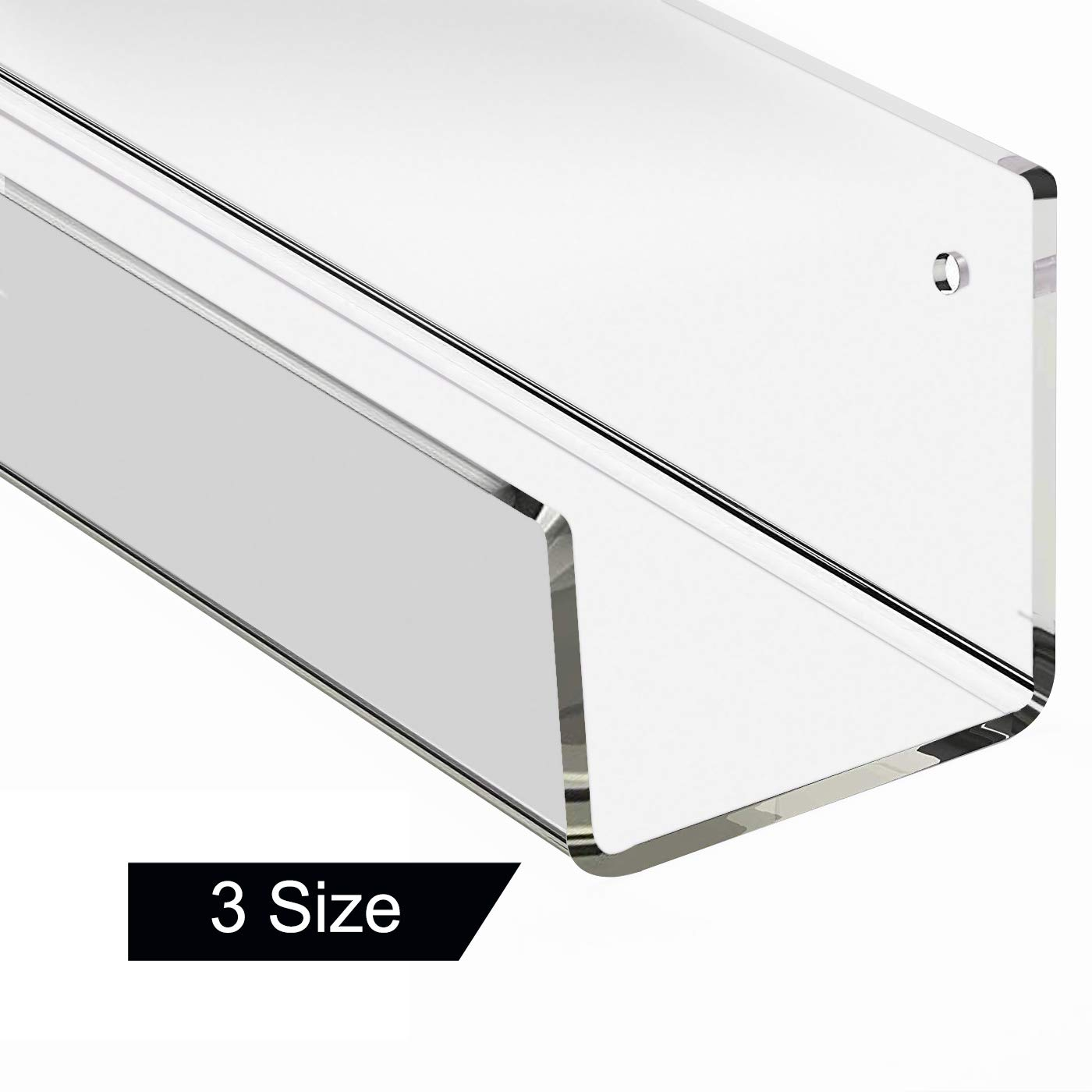 Clear Acrylic Floating Wall Mounted Shelf 16 inch, Unique Modern Wall Hanging Bookshelves, Display Holder for Bathroom Bedroom Office Nursery Decoration Pack 1