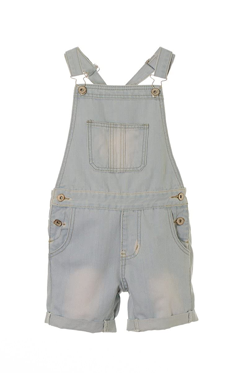 Girl's Denim Dungaree Shorts Kids Denim Playsuit Childrens All In One 7 8 9 10 11 12 13 yrs Light denim) GDDS