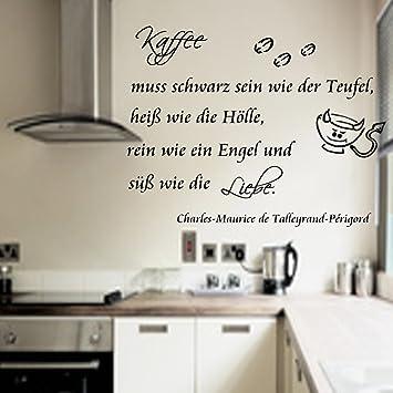 Wandtattoo Küche Kaffee muss schwarz sein wie der Teufel,heiß wie ...