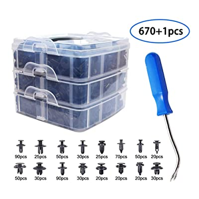 670 Pcs Auto Push Clips & Fasteners Set, Free Fastener Remover,Great Assortment of Push Type Retainers Fits For GM Ford Toyota Honda Chrysler with Plastic Storage Case: Automotive [5Bkhe1005926]