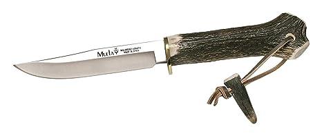 Muela Cuchillo GREDOS GRED-13H hoja de acero MoVa de 12 cm y empuñadura de asta de ciervo y latón para Caza, Pesca, Supervivencia y Bushcraft ...