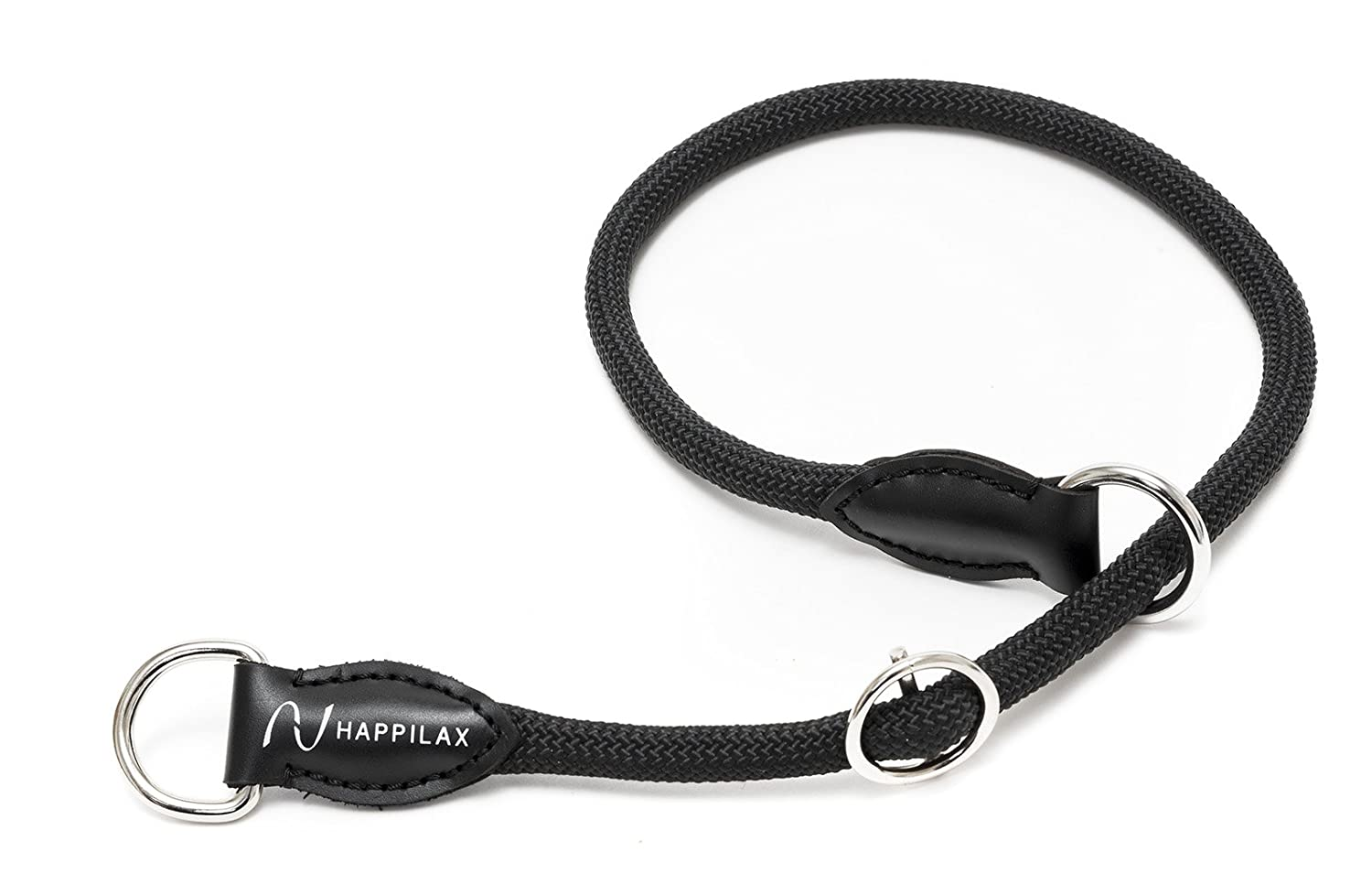 black Happilax Braided rope dog collar with adjustable stopper M