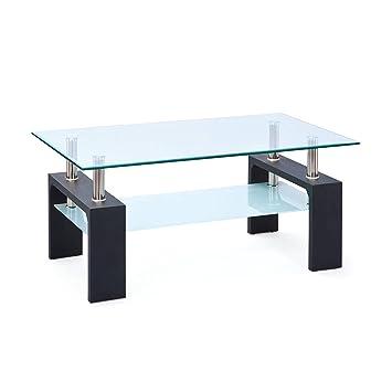 Links 50100045 Couchtisch Glas Wohnzimmertisch Wohnzimmer Tisch Beistelltisch Schwarz NEU