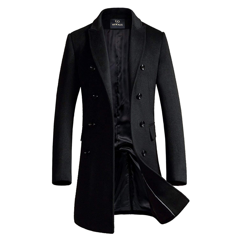 Men's Premium Wool Blend Double Breasted Long Pea Coat (Black, X-Large)