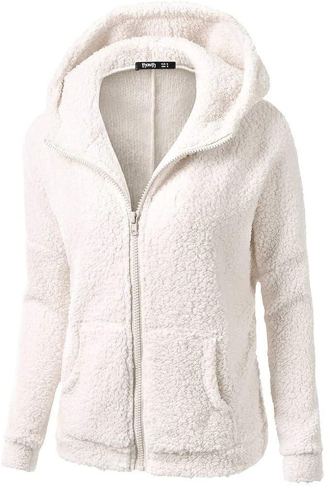 Seaintheson Women Hooded Sweater Coat Ladies Winter Warm Wool Zipper Jacket Cotton Outwear Solid Overcoat