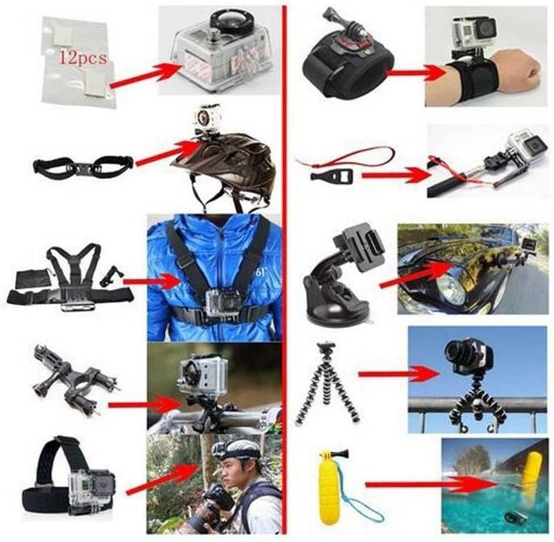 RuleaxA 14in1 Accessory Kit for GoPro Hero5 Black Hero5 Session Hero 4 Hero Session GoPro Hero3 3 2 1 SJ4000 Cam Xiaomi Skiing Cycle Hiking Outdoor Sport Accessories