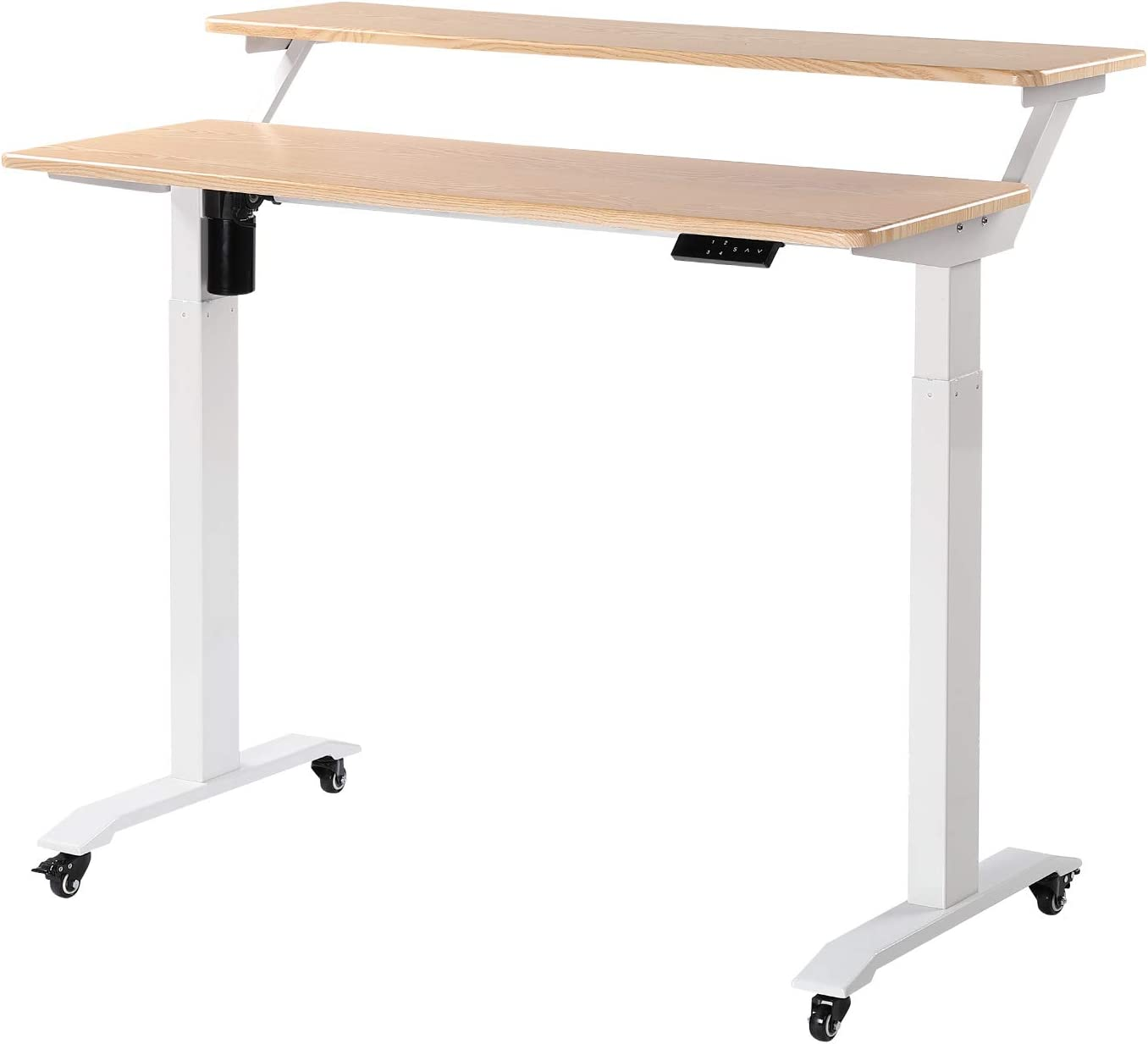 UNICOO - Electric Height Adjustable Standing Desk, Electric Standing Workstation Home Office Sit Stand Up Desk With 4 Pre-Set Memory Led Display Controller (Light Oak Top/White Legs -Electric -2 Tier)