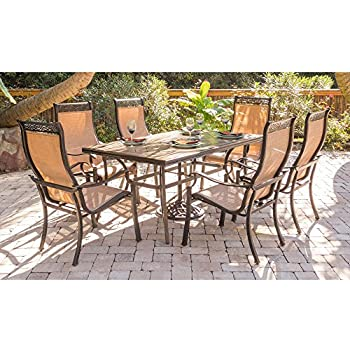 Hanover MONDN7PC Monaco 7 Piece Rust Free Aluminum Outdoor Patio Dining Set  With 6 Tan Sling Chairs And Tile Top Rectangular Table