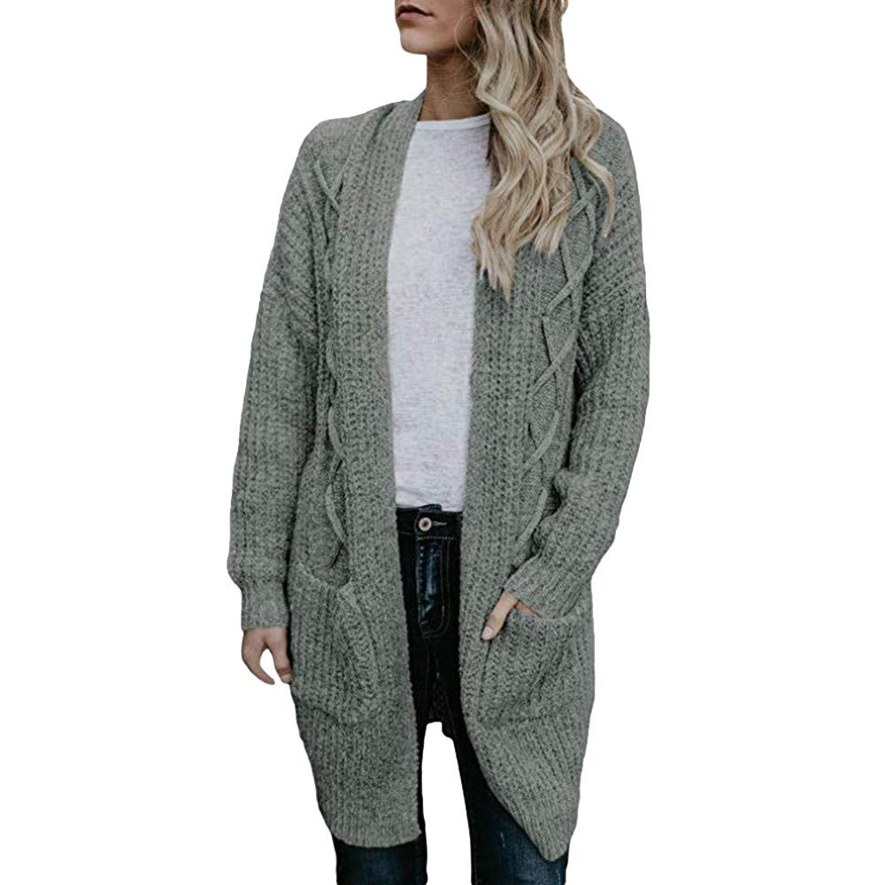 BeautyVan—Winter Clearance Sale ! Cardigan Tops,Womens Long Sleeve Chunky Cable Knit Long Pockets Cardigans Sweater Coat