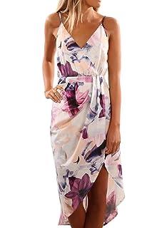 Dearlove Womens Casual Wrap V Neck Spaghetti Strap Floral Split Beach Dress