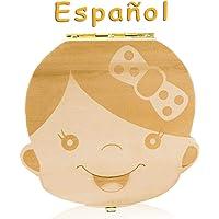 Lomire Caja de Almacenamiento de Dientes de Leche en Español, Organizador Recuerdo de la Caja de Madera para Guardar Dientes Pelo Fetal para Bebés Recién Nacidos, Niño