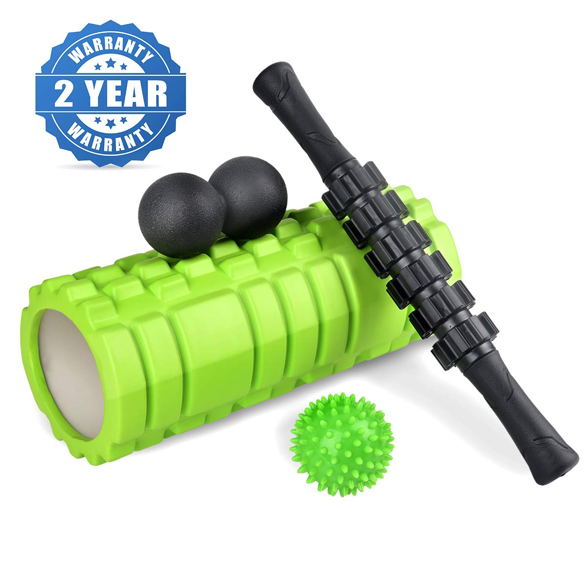 KerKoor Foam Roller Set - Muscle Massage and Myofascial Trigger Point Pain Release, Includes Hollow Core Massage Roller, Muscle Roller Stick, Double Lacrosse Peanut, Spiky Plantar Fasciitis Ball