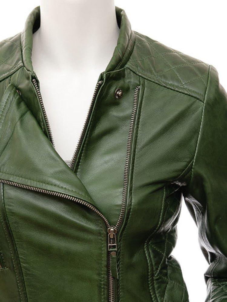 Hellojeehouse Womens Leather Jacket Black Slim fit Biker Genuine Lambskin Jacket 5