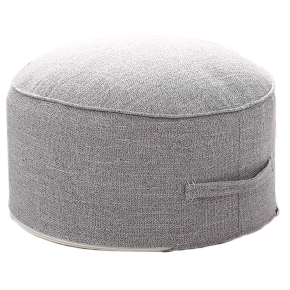 idee-home Removable Handle Round Pouf Footstool | Pouffe Ottoman Foot Rest Under Desk, Entry Way, Living Room, Bedroom, Dining | 14'' x 14'' x 7'' | Gray by idee-home