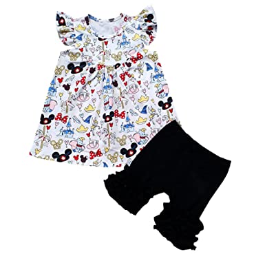 0b6ae81eb935 Baby Girl Flutter Mickey Pearl top with Icing Shorts Set Baby Spring Summer  Boutique Clothing