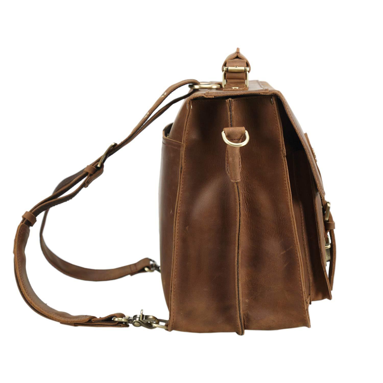 Polare 16 Full Grain Leather Briefcase Messenger Bag Laptop Satchel for Men