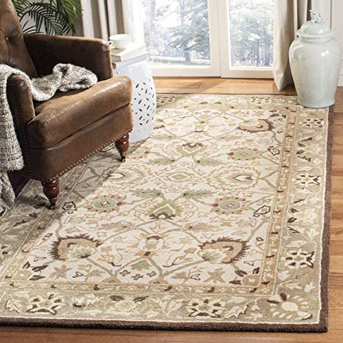 Safavieh Anatolia Collection AN512D Handmade Traditional Oriental Ivory and Brown Premium Wool Area Rug 9'6″ x 13'6″