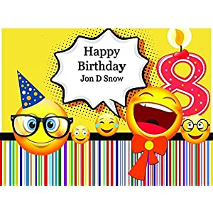 Custom Home Decor Number Candle and Nerd Emojis Birthday Poster for Kids - Size 24x36, 48x24, 48x36; Personalized Smileys in Eyeglasses Birthday Banner Wall Décor, Handmade Party Supply Poster Print