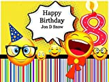 If you are one of those parents whose kid's birthday is coming up, look at this cheerful Nerd Emoji Birthday Poster for Wall. It's full of perky emojis and a cartoon-style candle 8 (optional) on a honeycomb and strips background and decoratin...
