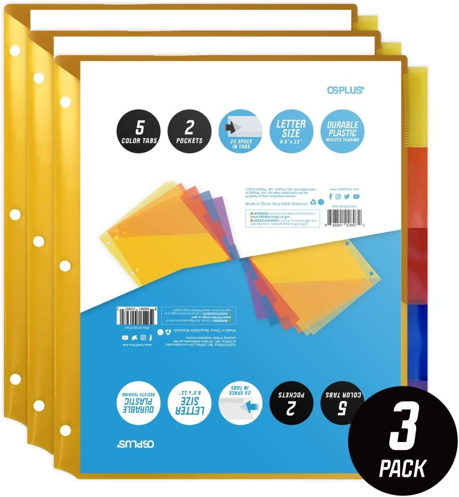 Set of 3 OS Plus OSD5T2M3 5-Tab Plastic Binder Dividers with 2 Pockets /& Insertable Big Tabs