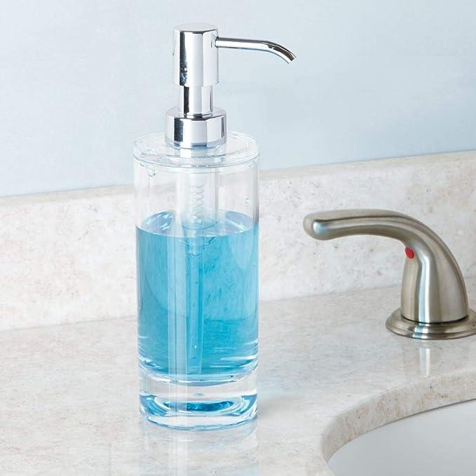 InterDesign Eva Dosificador de baño, dispensador de jabón líquido de plástico, transparente/plateado: Amazon.es: Hogar