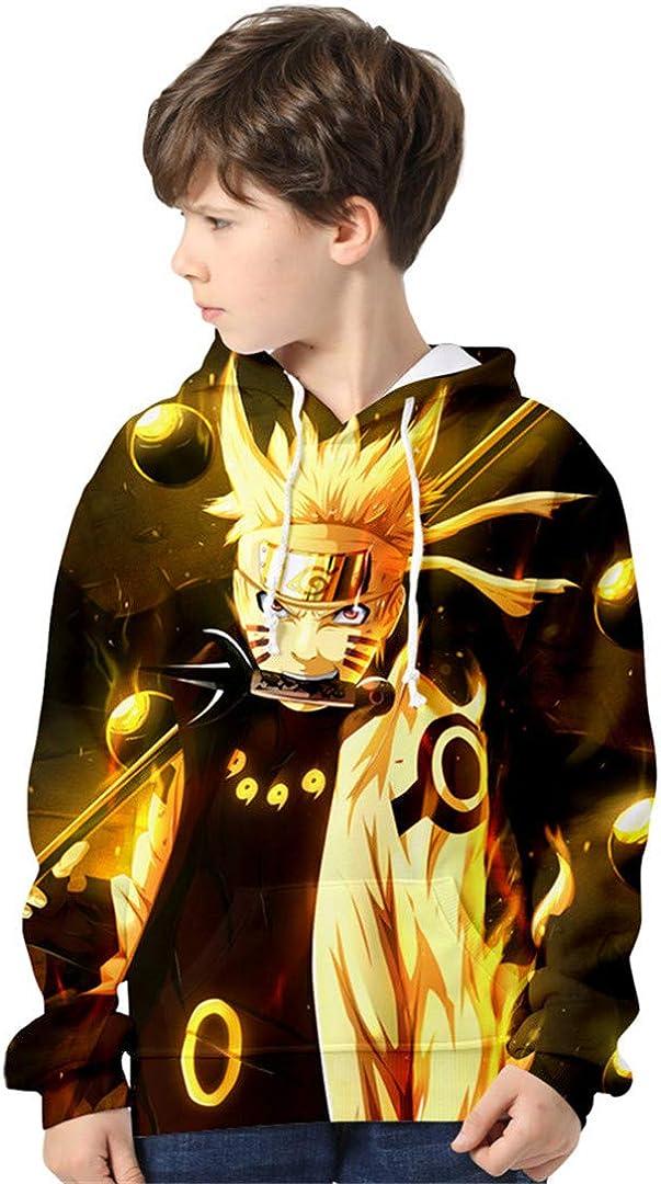 Silver Basic Sudadera con Capucha de Moda para Niños 3D Impreso Naruto con Capucha para Niños Loose Fit Japanese Anime Manga Naruto Poster Cosplay Disfraz Sudadera
