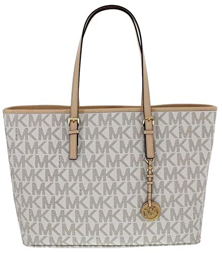 e2e2a0924c44 Michael Kors Jet Set Travel Monogram Logo Medium Tote Vanilla  Amazon.in   Shoes   Handbags