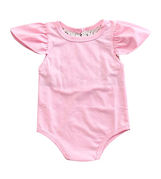 b0a120db13e Newborn Baby Girl Romper Lace Jumpsuit Bodysuit Bodysuit Cotton Summer  Clothes Outfit (0-3
